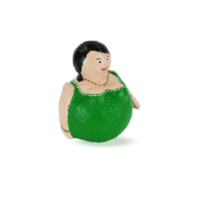 Dikke Dame in groene avondjurk