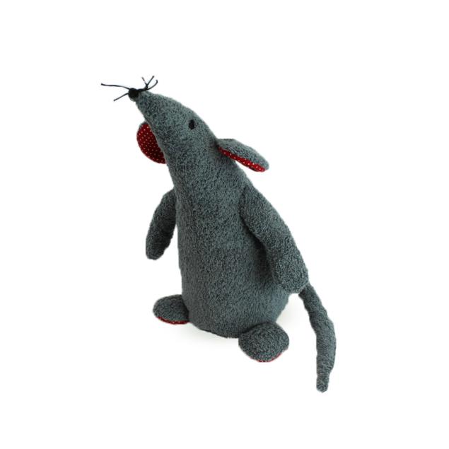 Knuffeldier Muis grijs/rood