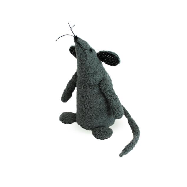 Knuffeldier Muis grijs/zwart