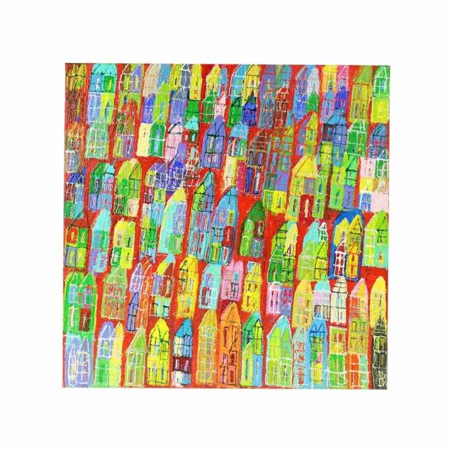 Schilderij vrolijke huizen